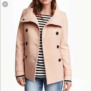H&M double breasted blush pea coat